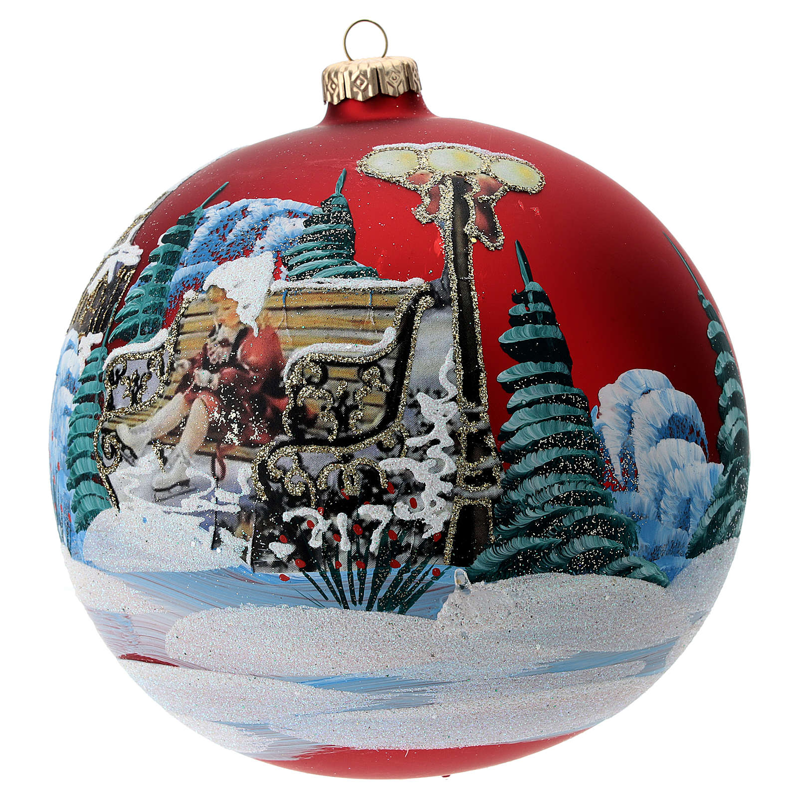 Blown glass bauble with Christmas scenery 15 cm 4