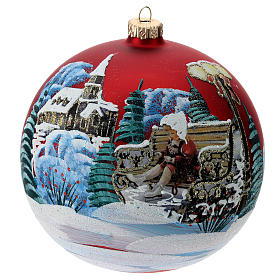 Blown glass bauble with Christmas scenery 15 cm s1