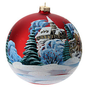 Blown glass bauble with Christmas scenery 15 cm s3
