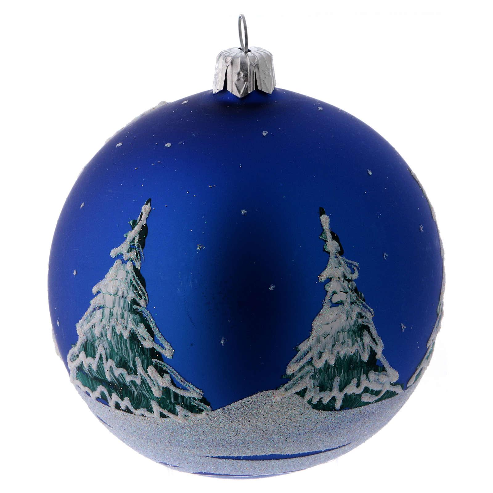 Weihnachtskugel aus Glas Grundton Blau Motiv schneebedeckte Bäume 100 mm 4