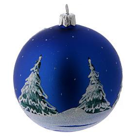 Boule Noël verre bleu et arbres enneigés décorés 100 mm s3