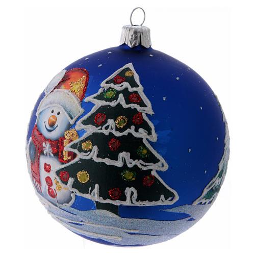 Boule Noël verre bleu et arbres enneigés décorés 100 mm 2