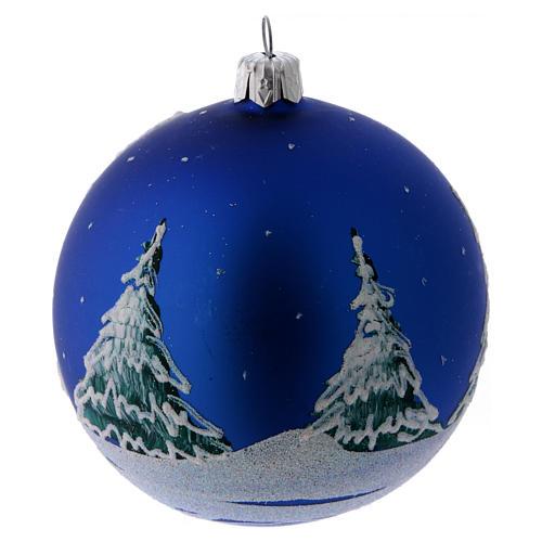 Boule Noël verre bleu et arbres enneigés décorés 100 mm 3