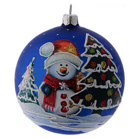 Blue blown blass bauble with snoman and trees 10 cm s1