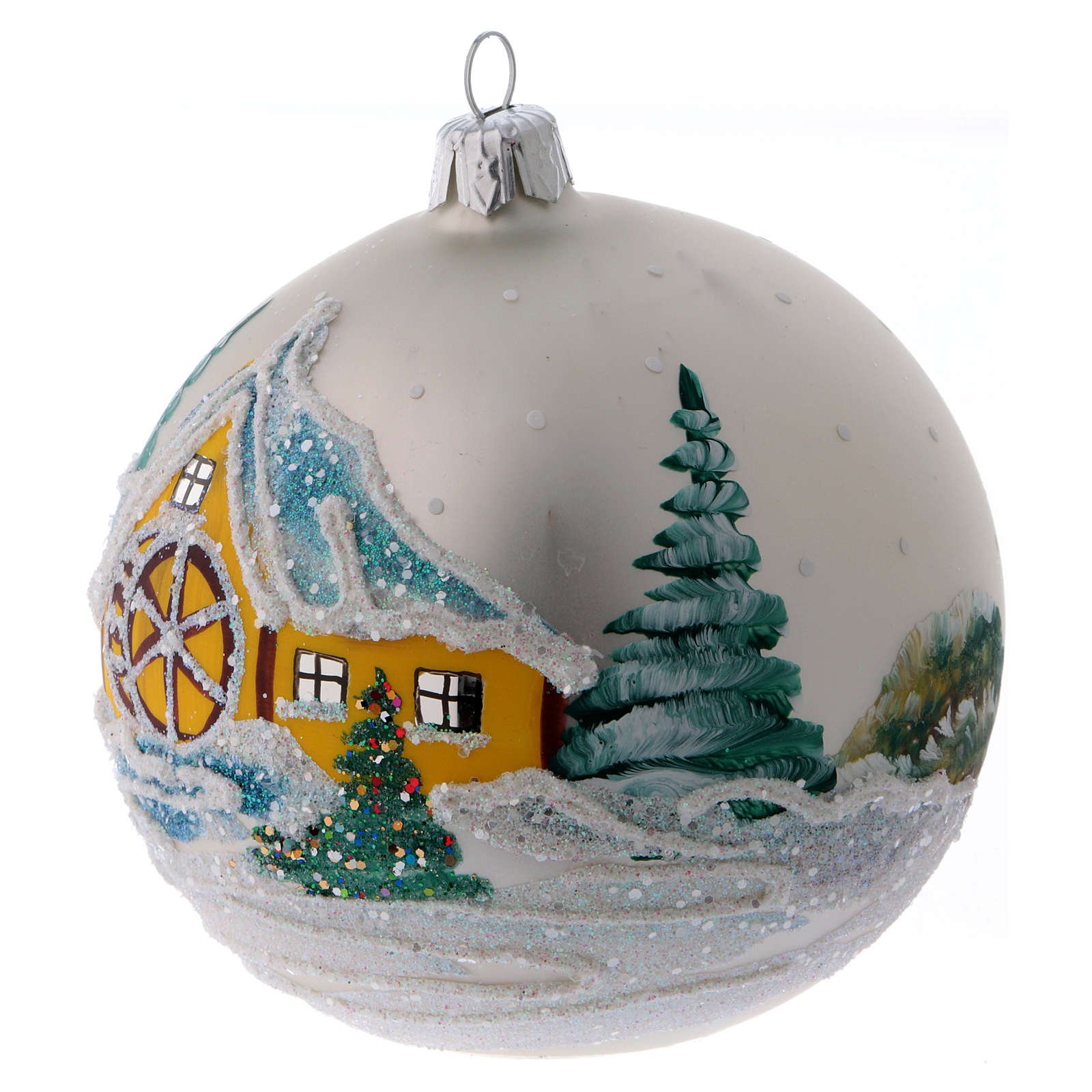 Christmas ball in pearl-grey glass with snowy mill 100 mm 4