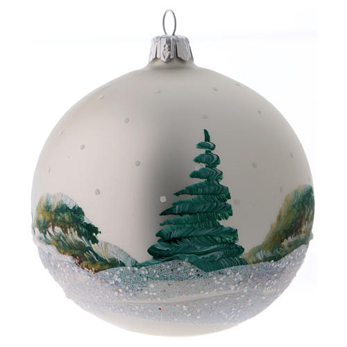 Christmas ball in pearl-grey glass with snowy mill 100 mm 3
