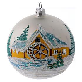 Boules de Noël: Boule sapin Noël verre perle moulin enneigé 100 mm