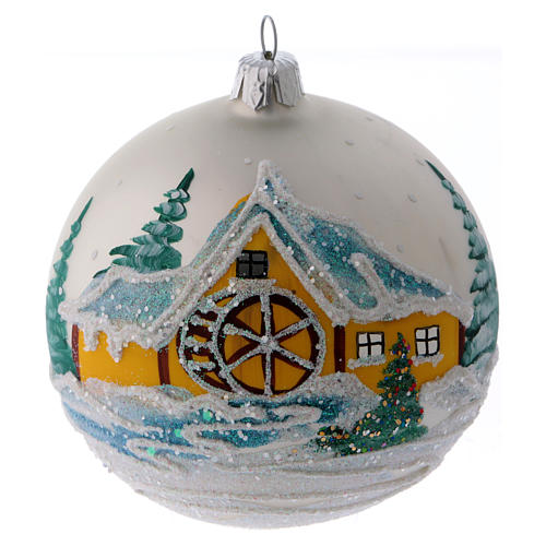 Blown glass bauble with snowy scene 10 cm 1