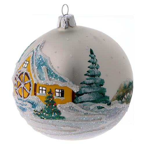 Blown glass bauble with snowy scene 10 cm 2