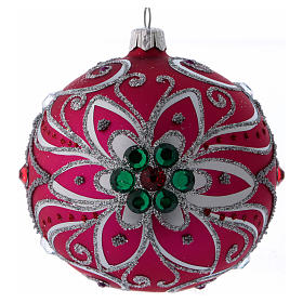 Christmas balls: Christmas ball in fuchsia glass with silver flower decoration 100 mm