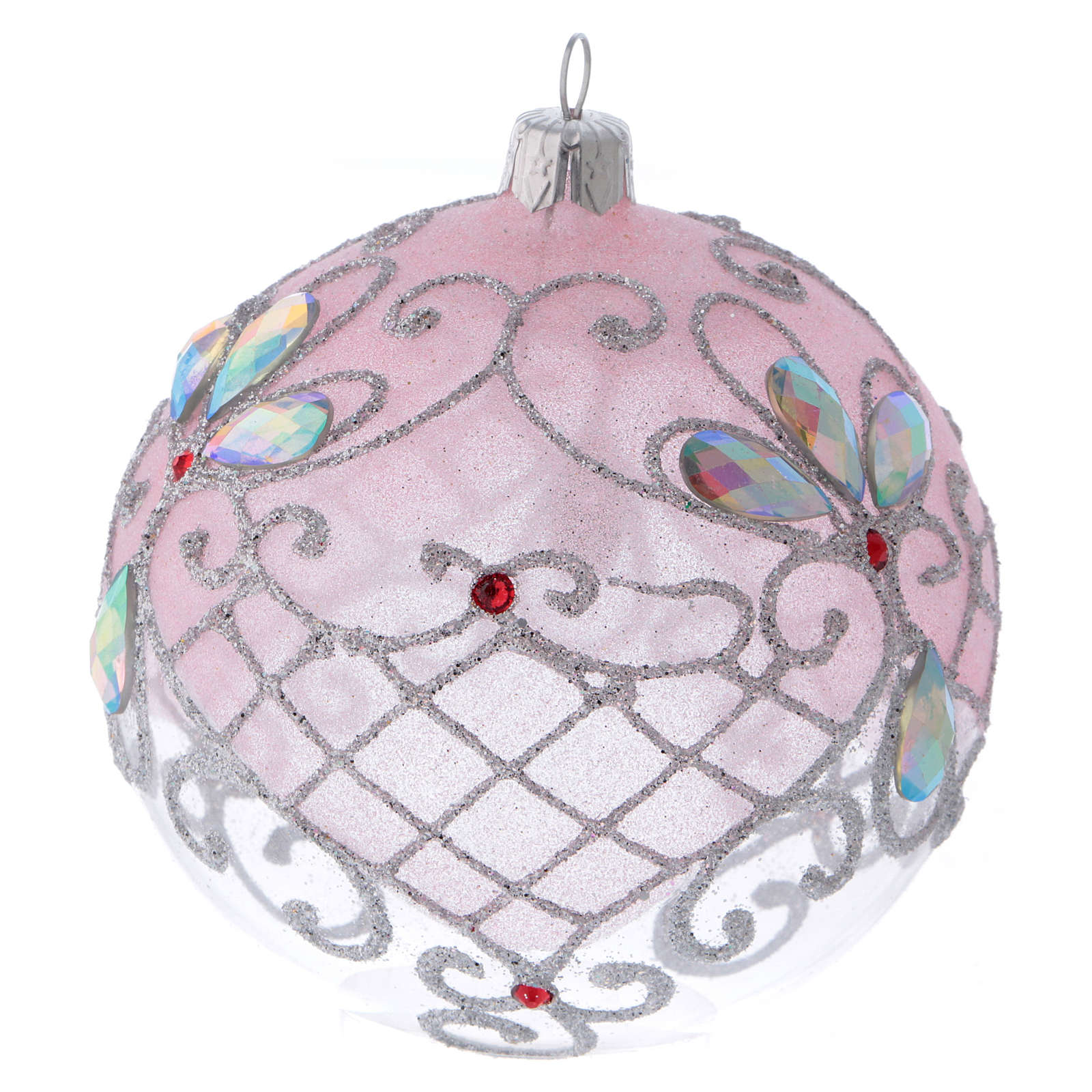 Christmas ball in transparent glass with pink and silver glitter decorations 100 mm 4