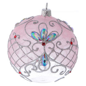 Christmas ball in transparent glass with pink and silver glitter decorations 100 mm s1