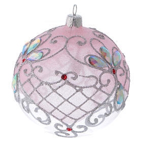 Christmas ball in transparent glass with pink and silver glitter decorations 100 mm s3