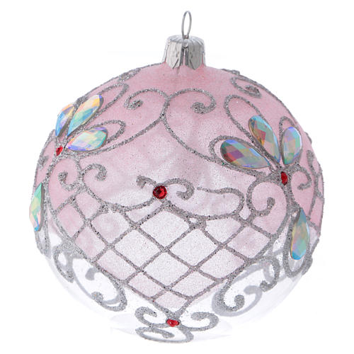 Christmas ball in transparent glass with pink and silver glitter decorations 100 mm 3