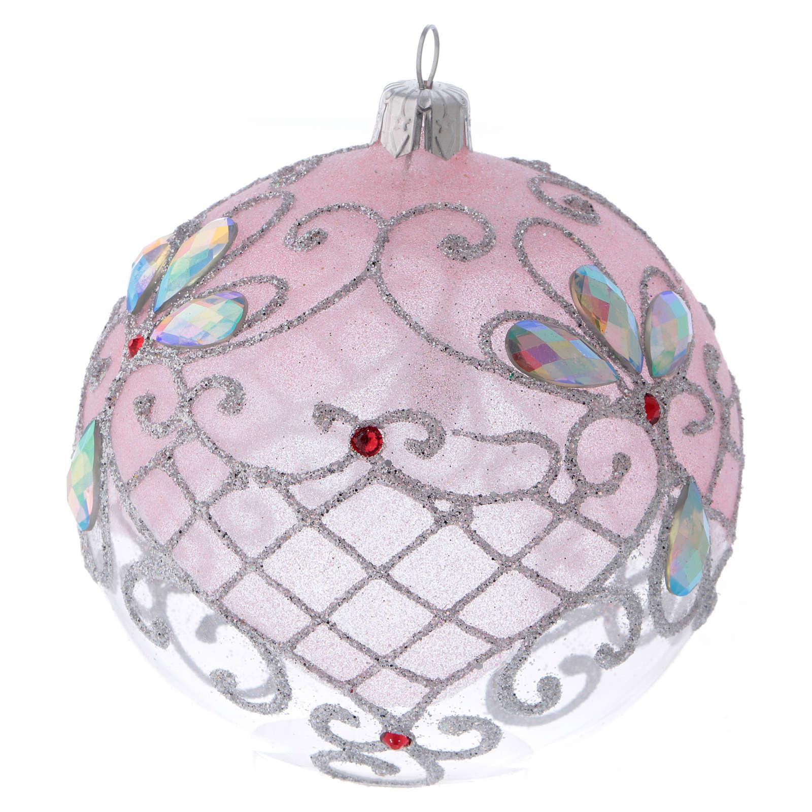 Bolita vidrio transparente decoración rosa y plata purpurina 100 mm 4