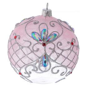 Boule verre transparent décoration rose et argent pailleté 100 mm s1