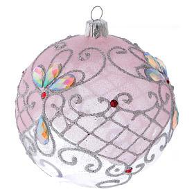 Boule verre transparent décoration rose et argent pailleté 100 mm s2