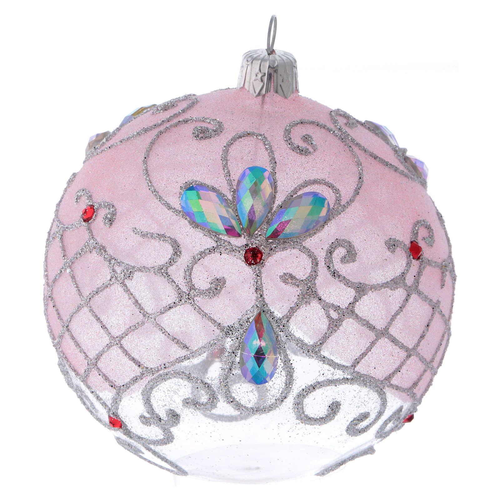 Pallina vetro trasparente decorazione rosa e argento glitterato 100 mm 4