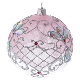 Pallina vetro trasparente decorazione rosa e argento glitterato 100 mm s3