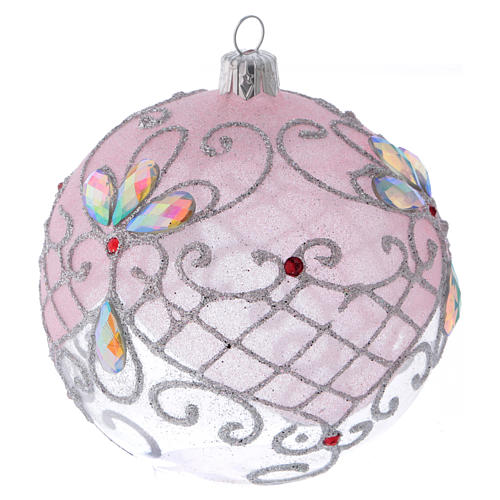 Pallina vetro trasparente decorazione rosa e argento glitterato 100 mm 2
