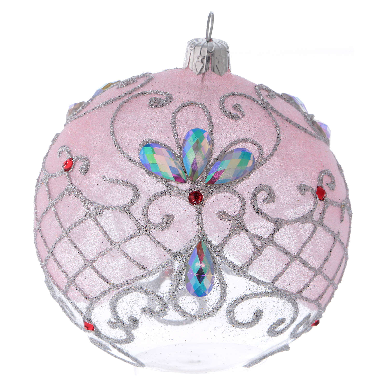 Glittery transparent glass ball with rose decoration 10 cm 4