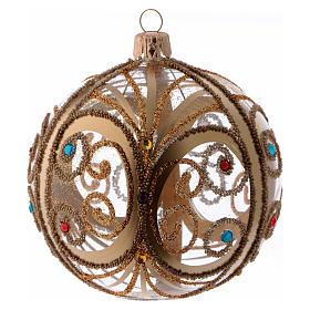 Bolas de Navidad: Bolita Navidad vidrio transparente con decoración oro y piedras coloreadas 100 mm