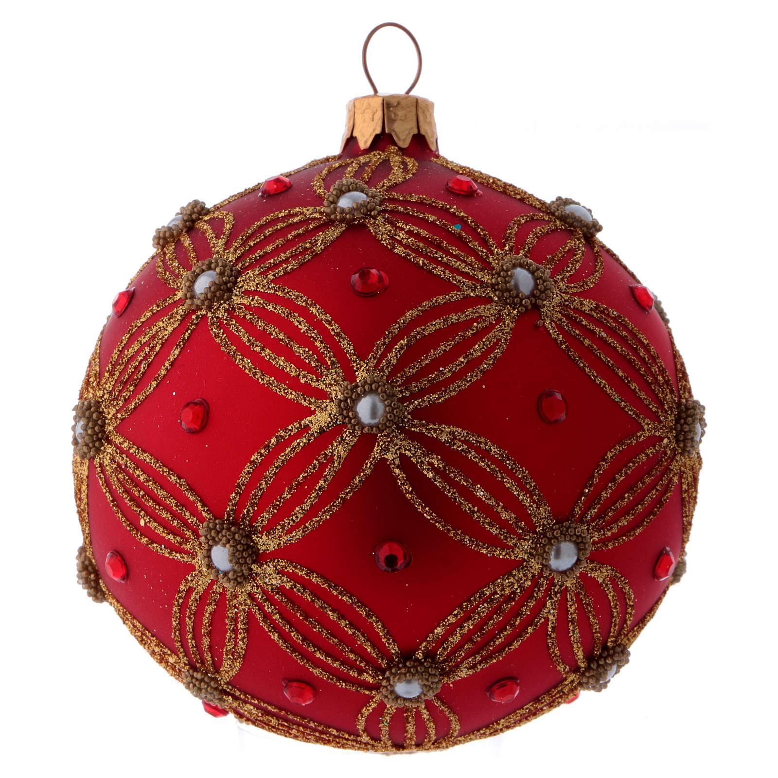 Bolita Navidad vidrio púrpura con perlas y motivos dorados 100 mm 4