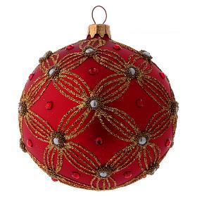 Bolita Navidad vidrio púrpura con perlas y motivos dorados 100 mm s1