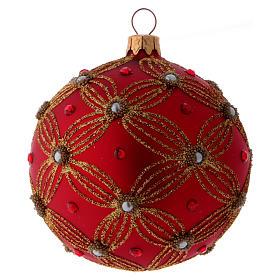 Bolita Navidad vidrio púrpura con perlas y motivos dorados 100 mm s2