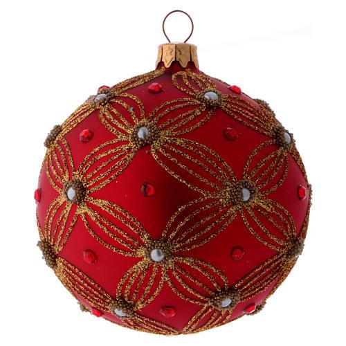 Bolita Navidad vidrio púrpura con perlas y motivos dorados 100 mm 2