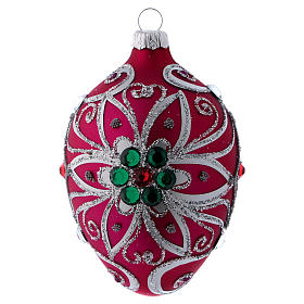 Christmas balls: Drop-shaped ornament in fuchsia glass with silver flower decoration 80 mm