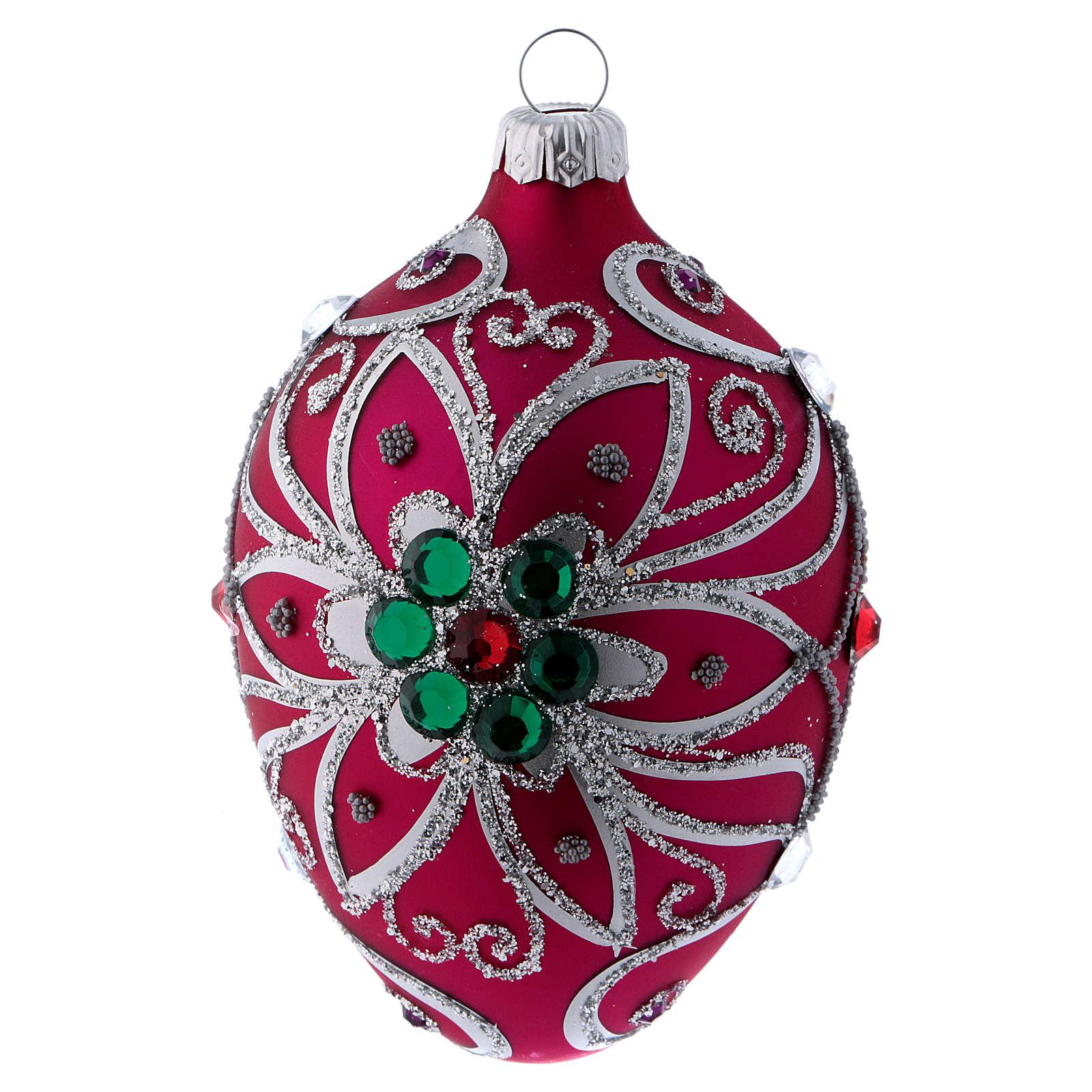 Adorno gota vidrio fucsia decoración flor plateado 80 mm 4