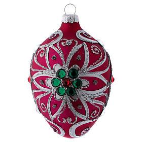 Adorno gota vidrio fucsia decoración flor plateado 80 mm s1