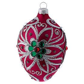 Adorno gota vidrio fucsia decoración flor plateado 80 mm s3