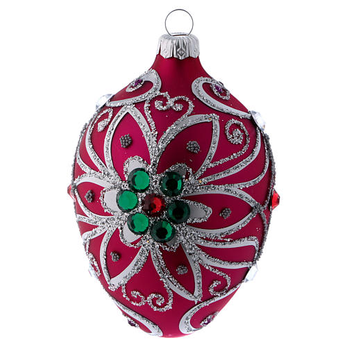 Adorno gota vidrio fucsia decoración flor plateado 80 mm 3