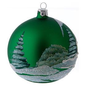 Pallina Albero vetro verde baita scandinava innevata 100 mm s3