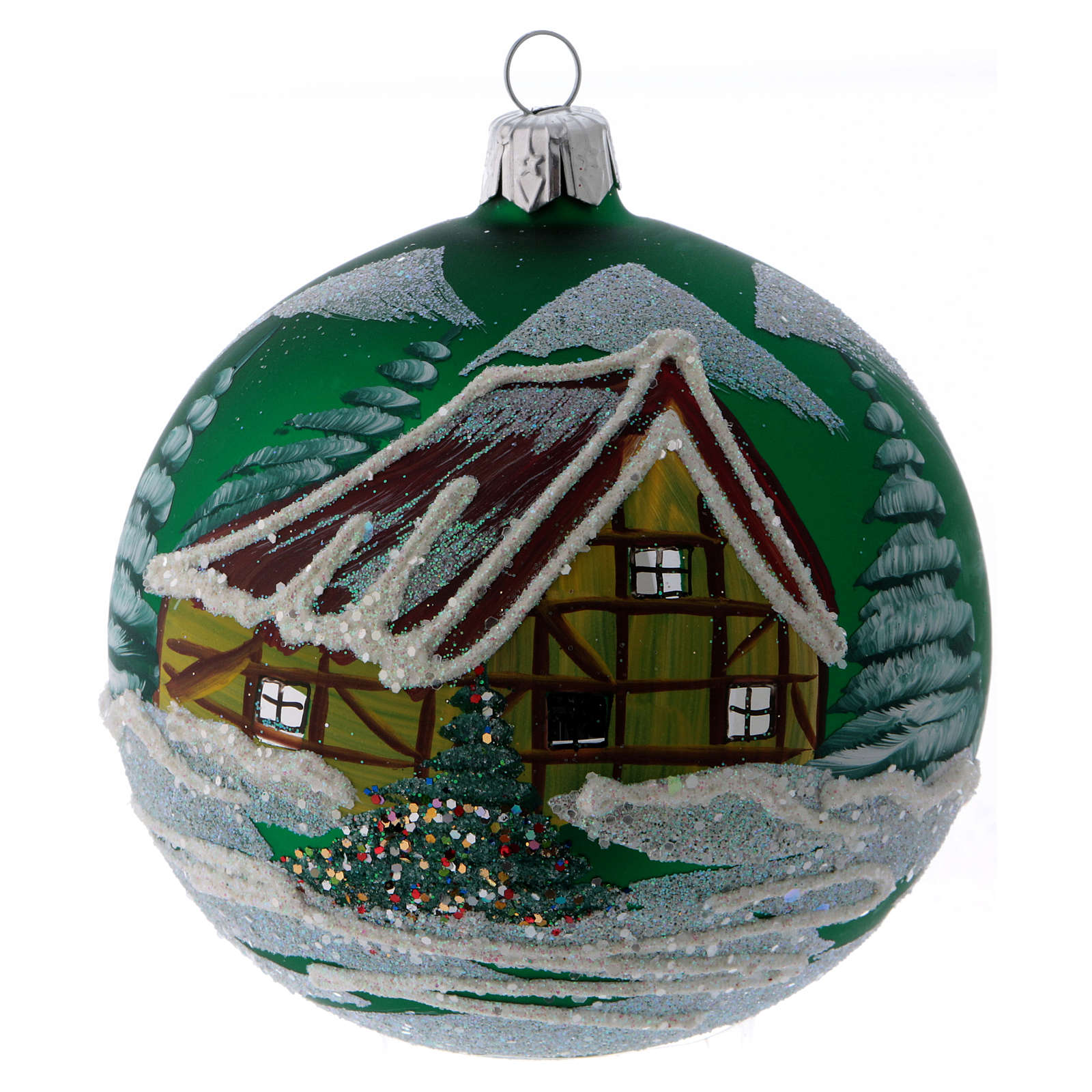 Green glass ball with snowed house design 10 cm 4