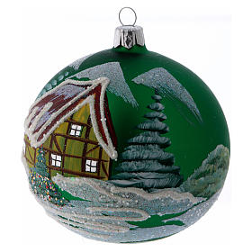 Green glass ball with snowed house design 10 cm s2