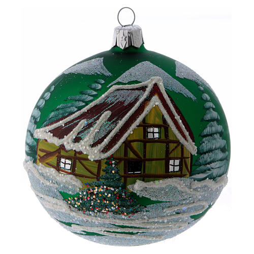 Green glass ball with snowed house design 10 cm 1