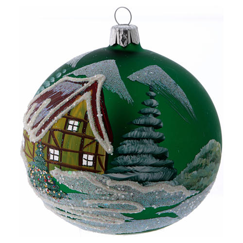 Green glass ball with snowed house design 10 cm 2