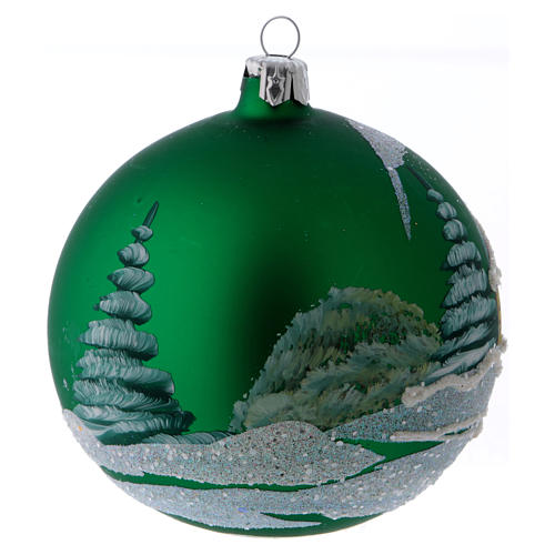 Green glass ball with snowed house design 10 cm 3