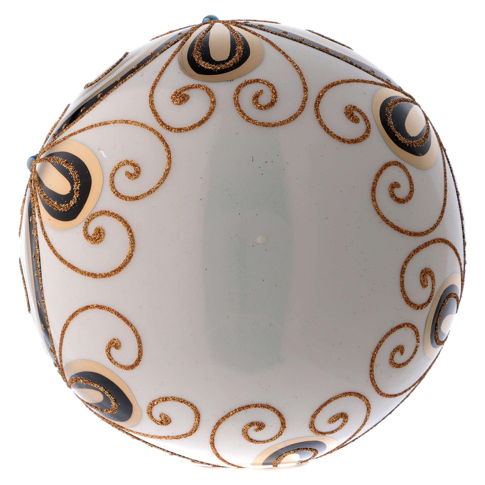 Bola Navidad vidrio color marfil decorado oro 200 mm 4