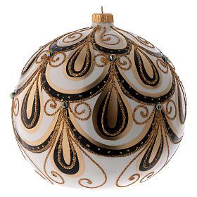 Bola Navidad vidrio color marfil decorado oro 200 mm s1