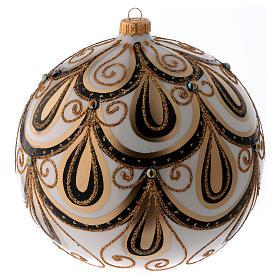 Bola Navidad vidrio color marfil decorado oro 200 mm s2