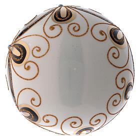 Bola Navidad vidrio color marfil decorado oro 200 mm s3
