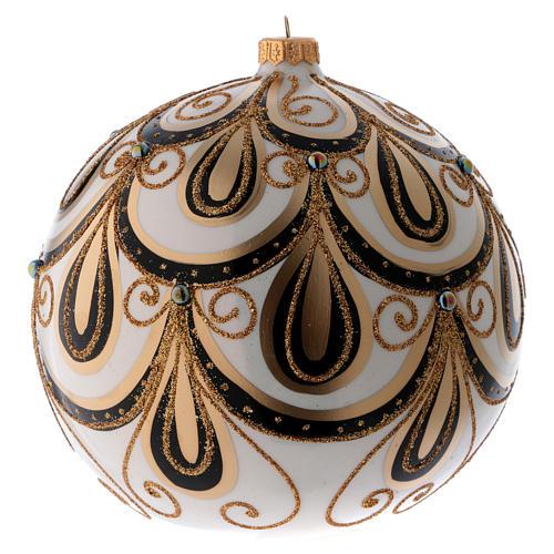 Bola Navidad vidrio color marfil decorado oro 200 mm 1
