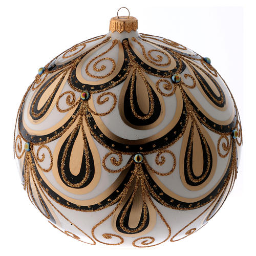 Bola Navidad vidrio color marfil decorado oro 200 mm 2