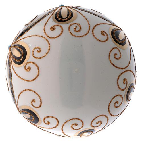 Bola Navidad vidrio color marfil decorado oro 200 mm 3