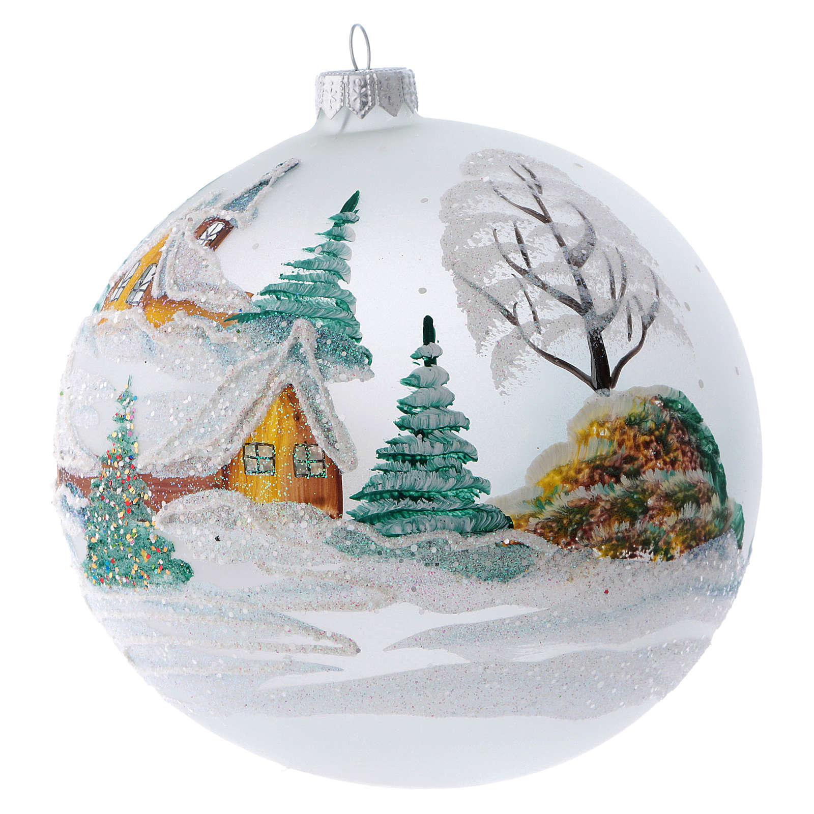 Christmas ball in painted glass snowy chalets 150 mm 4