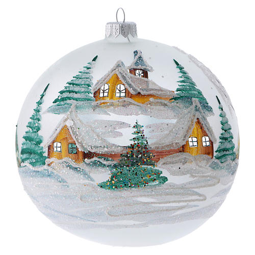 Christmas ball in painted glass snowy chalets 150 mm 1